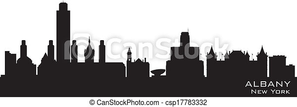 albany new york city skyline vector silhouette albany new york