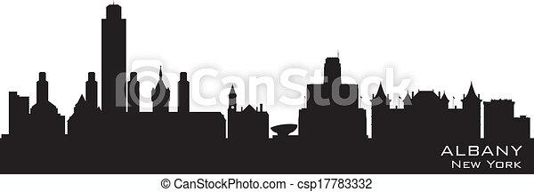 Albany New York city skyline vector silhouette - csp17783332
