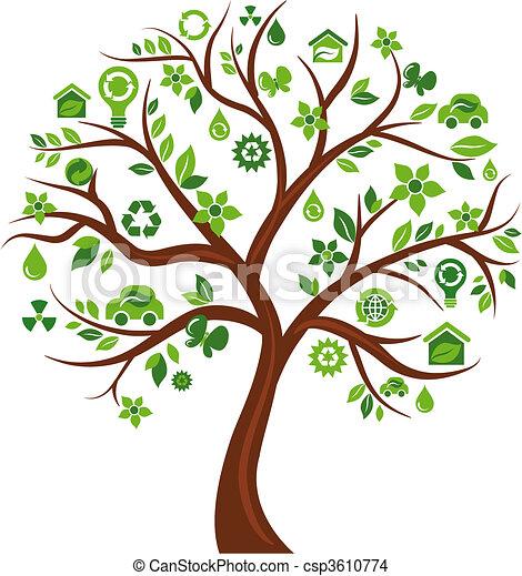 albero, ecologico, -, 3, icone - csp3610774