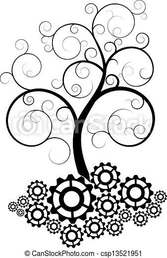 albero, ingranaggio, spirale - csp13521951