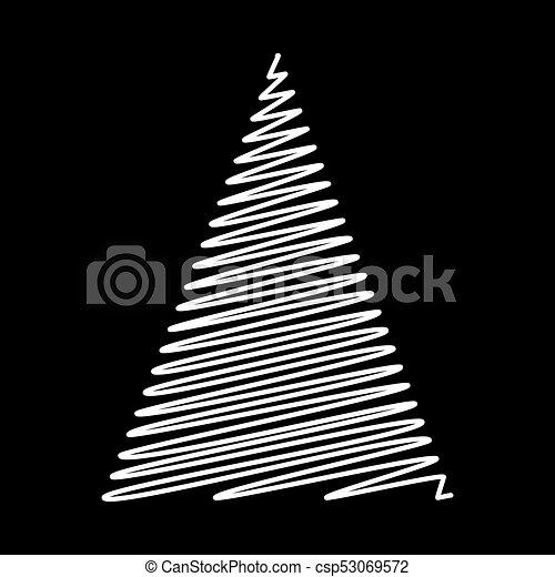 albero, isolato, disegno, fondo, nero, scarabocchio, natale - csp53069572
