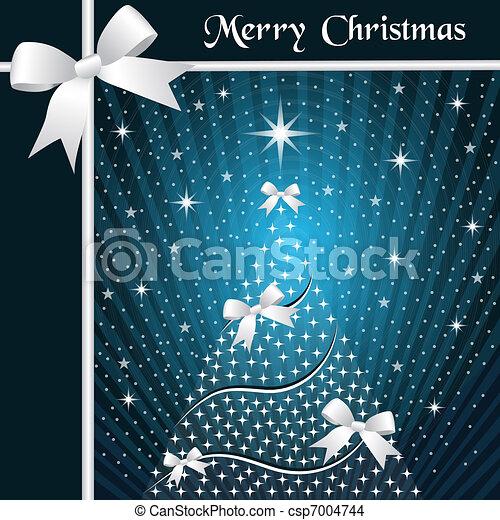 Albero nastri natale blu archi albero neve o fondo - Nastri decorativi per albero di natale ...