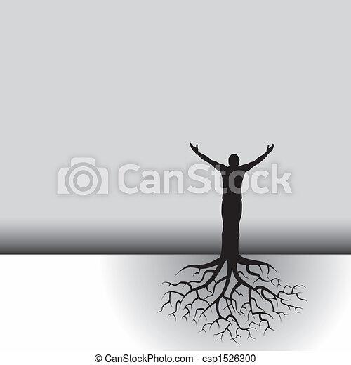 albero, radici, uomo - csp1526300