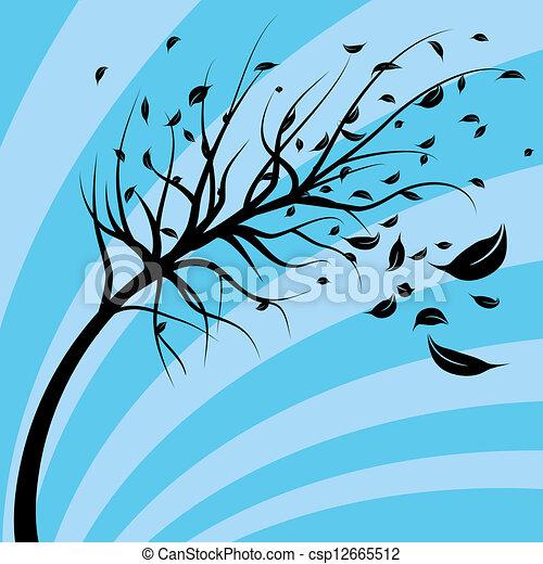 albero, vento soffiato - csp12665512