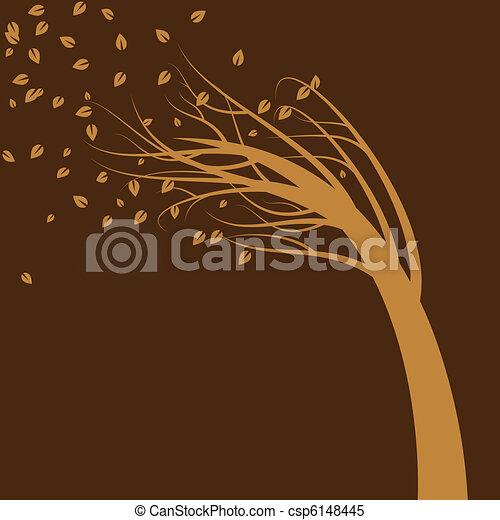 albero, vento soffiato - csp6148445