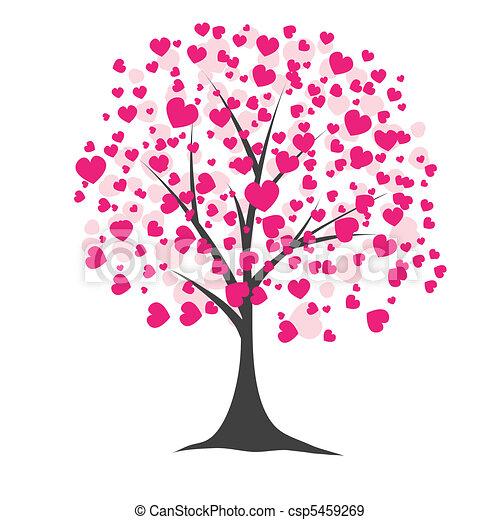 albero, vettore, hearts., illustrazione - csp5459269