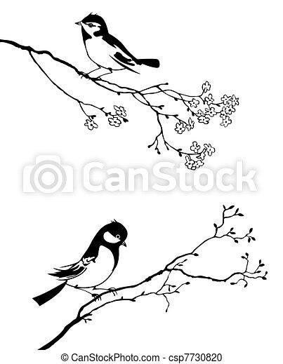 albero, vettore, silhouette, uccello, ramo - csp7730820