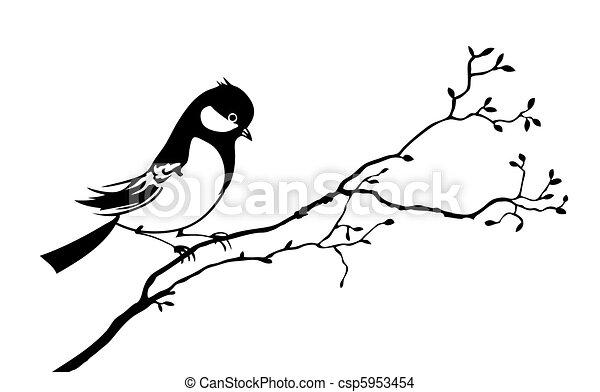 albero, vettore, silhouette, uccello, ramo - csp5953454
