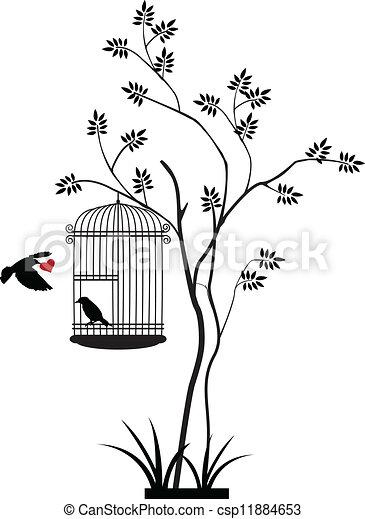 albero, volare, silhouette, uccello - csp11884653
