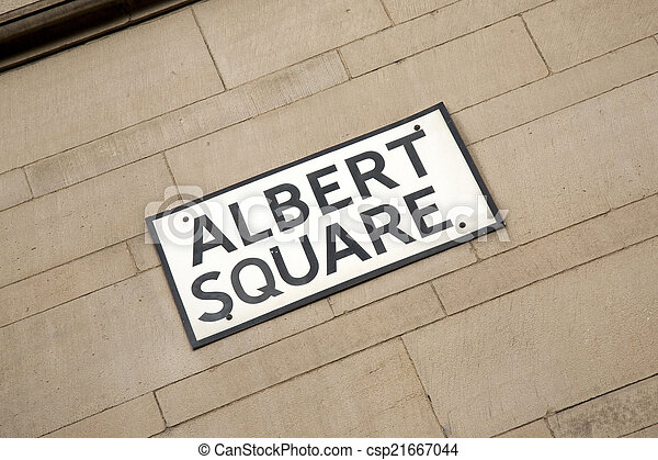 Albert Square Street Sign, Manchester - csp21667044