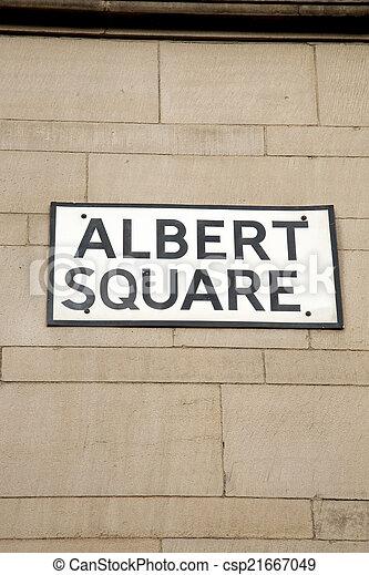 Albert Square Street Sign, Manchester - csp21667049