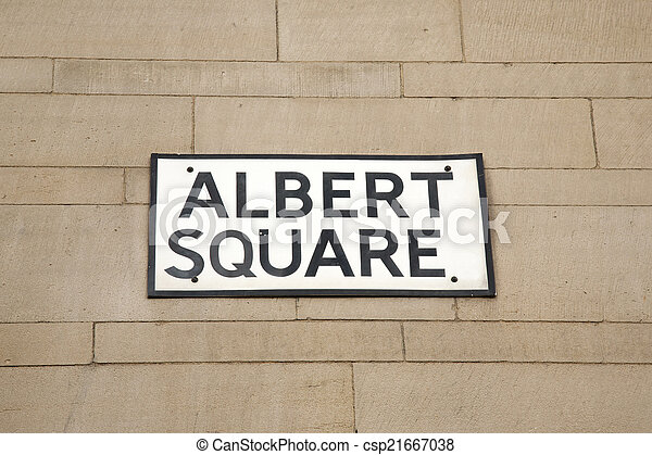 Albert Square Street Sign, Manchester - csp21667038