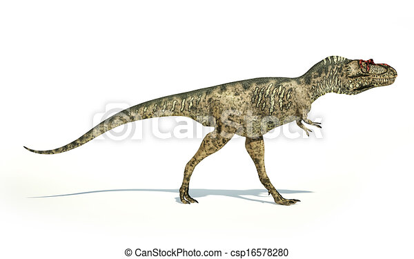 Albertosaurus Dinosaur, photorealistic and scientifically correct representation, side view. On white background with drop shadow. Clipping path included. - csp16578280