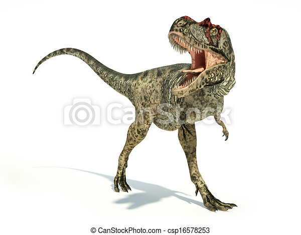 Albertosaurus Dinosaur, photorealistic and scientifically correct representation, dynamic posture. On white background with drop shadow. Clipping path included. - csp16578253