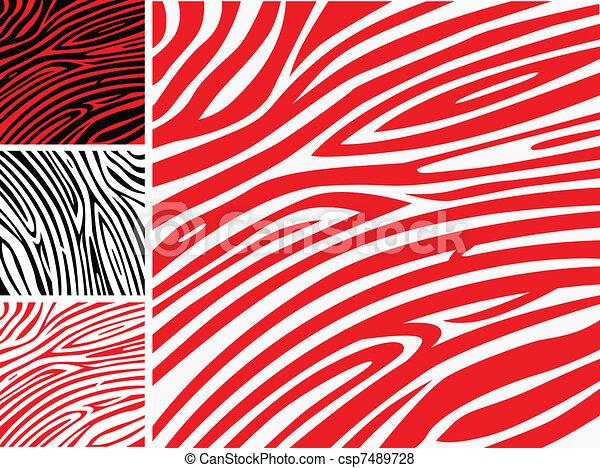 albo, skóra, próbka, druk, -, zebra, zbiór, czerwony, zwierzę, biały - csp7489728