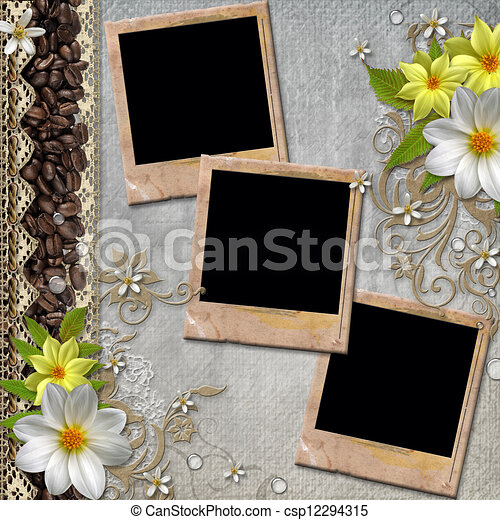 Album cover with flowers, lace - csp12294315