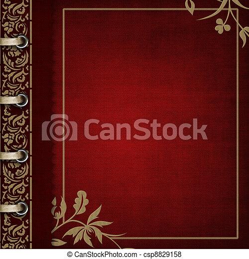 album, fénykép, lebarnult, -, fedő, választékos, piros - csp8829158