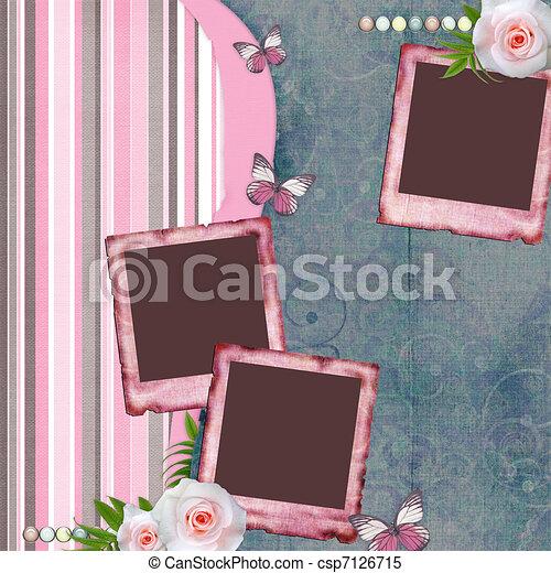 album, stijl, roos, (1, set), foto, pagina, beautyful, papier, lijstjes, plakboek, vlinder - csp7126715