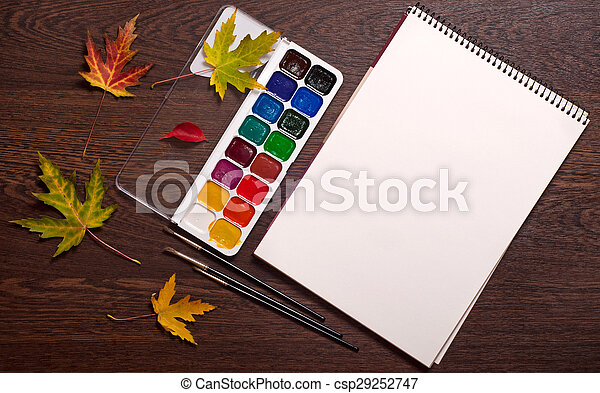 album, watercolor, brushes and autumn leaves - csp29252747