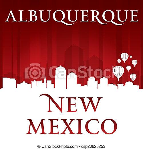albuquerque, méxico, fundo, skyline, cidade, vermelho, novo, silueta - csp20625253