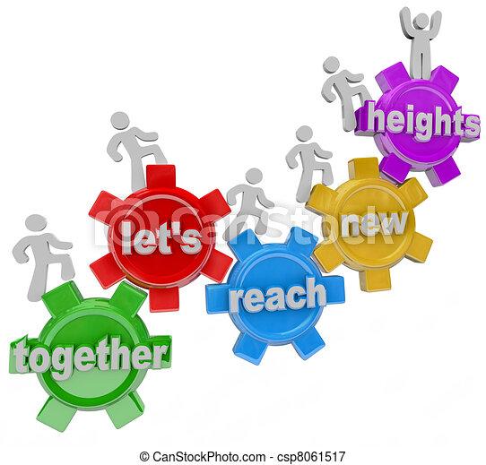 alcance, juntos, alturas, dejarnos, engranajes, equipo, nuevo - csp8061517