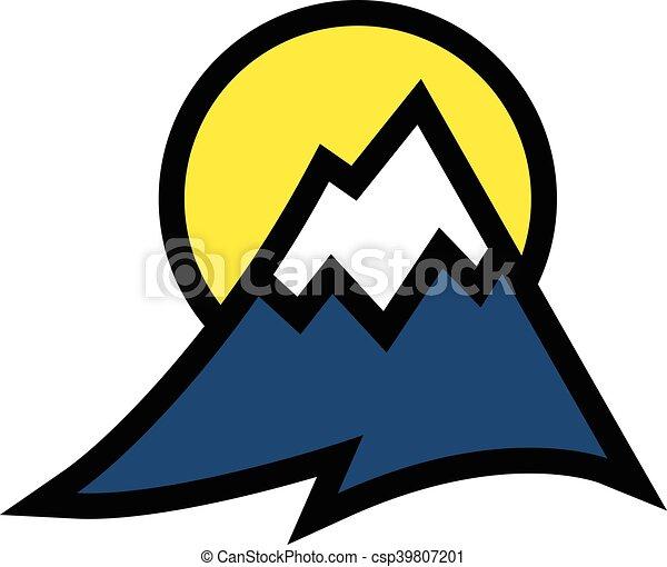 alcance montanha, vetorial, ícone - csp39807201