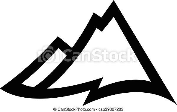 alcance montanha, vetorial, ícone - csp39807203