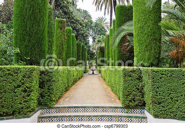 alcazar, dichters, tuin, seville - csp6799303
