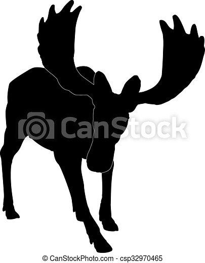 Alce adulto silueta - csp32970465