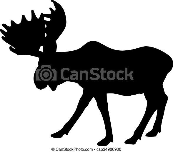 Alce adulto silueta - csp34986908