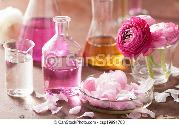 alchemy and aromatherapy set with ranunculus flowers and flasks  - csp19991708