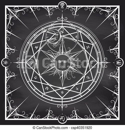 Hervorragend Illustration Vecteur de alchimie, cercle, magie, tableau, fond  GG02