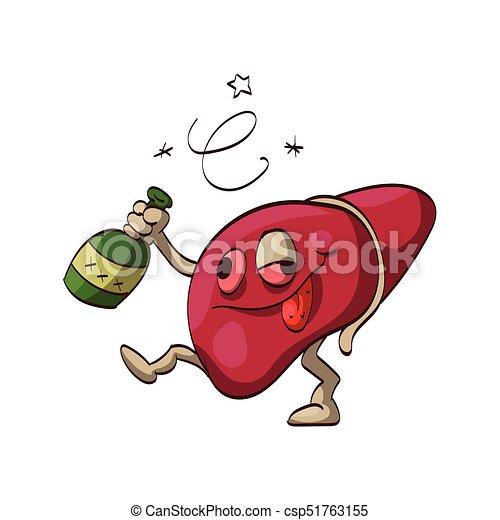alcohólico, caricatura, hígado. colorido, alcohólico, vector de