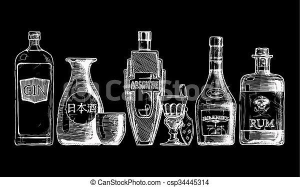 alcohol., bevanda, bottiglie, distillato - csp34445314