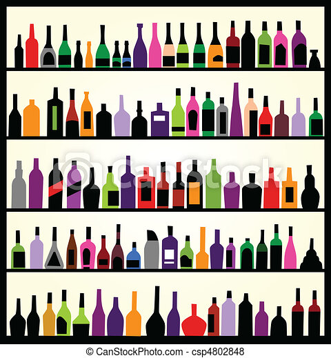 alcohol bottles on the wall - csp4802848