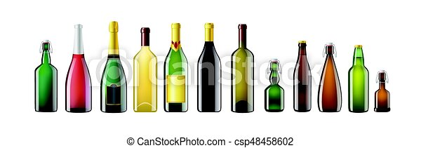Alcohol Bottles - realistic vector set of objects - csp48458602