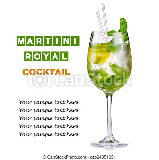 alcohol cocktail hugo with lime and mint isolated on white. Black Bedroom Furniture Sets. Home Design Ideas