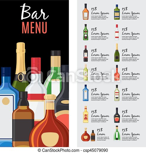 Alcohol drinks menu template for bar and restaurant with bottles alcohol drinks menu template for bar and restaurant with bottles description and prices vector illustration maxwellsz