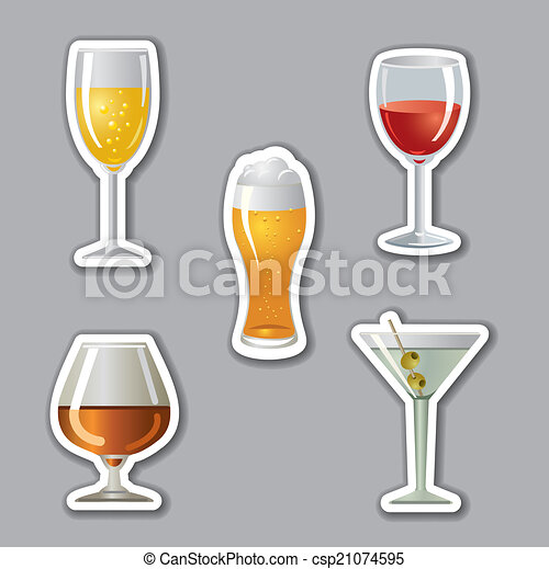 alcohol drinks stickers - csp21074595