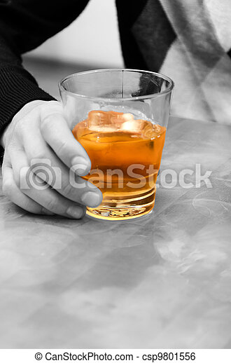 Alcohol - evil! Man's hand holding a glass of whiskey - csp9801556
