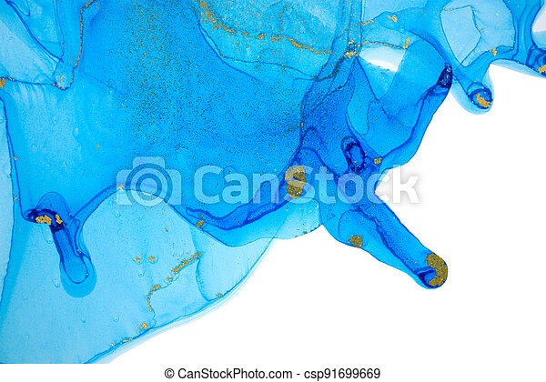 Alcohol ink stains isolated on white background. Ocean style watercolor drops texture. - csp91699669