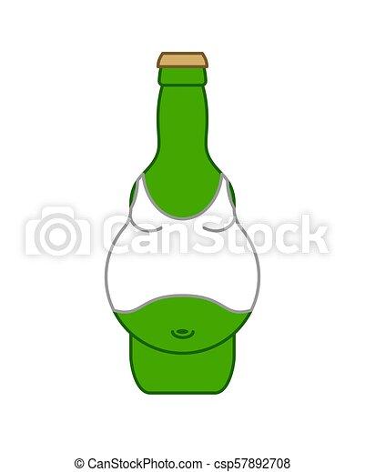 Panza de cerveza en botella aislada. Ilustración de vectores de alcohol - csp57892708