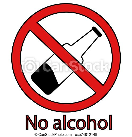 alcohol prohibition sign crossed out bottle. no alcohol. isolated vector illustration - csp74812148
