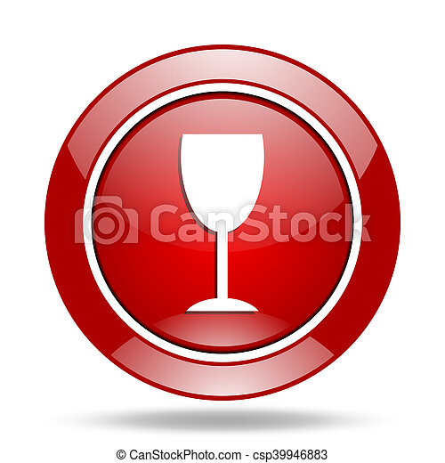 alcohol red web glossy round icon - csp39946883