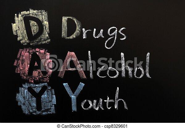 Acronía del día: drogas, alcohol, juventud - csp8329601