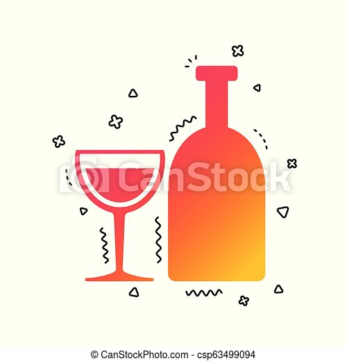 Alcohol sign. Drink symbol. Bottle with glass. Vector - csp63499094