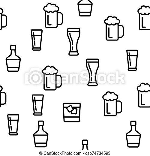 alcohol, vector, bebida, seamless, patrón - csp74734593