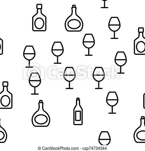 alcohol, vector, bebida, seamless, patrón - csp74734344