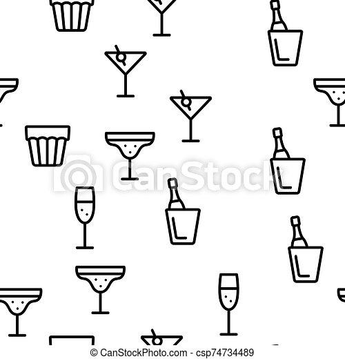 alcohol, vector, bebida, seamless, patrón - csp74734489