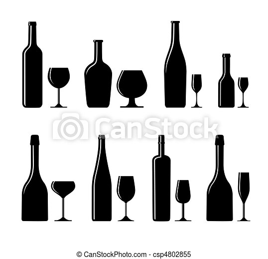 alcoholic glass and bottle - csp4802855